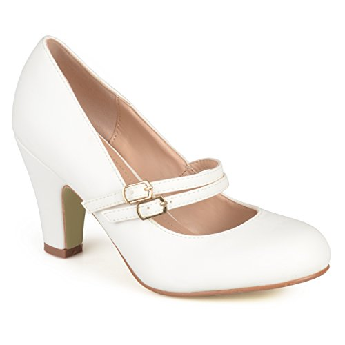 Journee Collection Womens Matte Finish Classic Mary Jane Pumps White, 7 Regular US