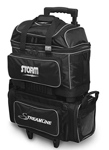 Storm Streamline Bowlingtasche mit 4 Kugeln, Schwarz/Silber