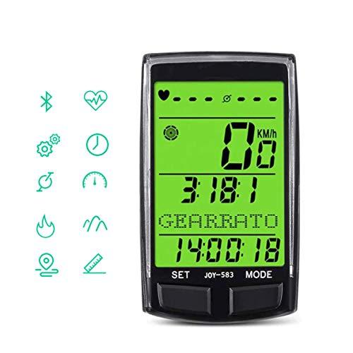 WYLDDP Bicicleta Cuentakilómetros, 20 Funciones, velocímetro inalámbrico a Prueba de Agua, Bicicletas...