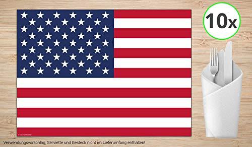 Tischsets | Platzsets - USA Flagge - 10 Stück - hochwertige Tischdekoration 44 x 32 cm für Tische mit American Style, Mottopartys und typisch amerikanischen Abenden mit Burger und Chicken Wings