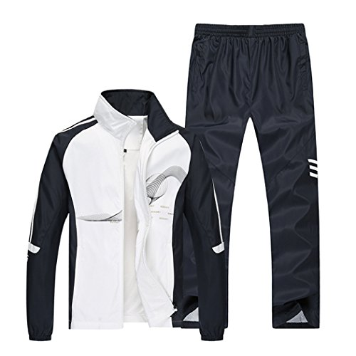 Sun Lorence Men's Athletic Full Zip Jogger Sweat Suit Casual Running Tracksuit Outfit White M