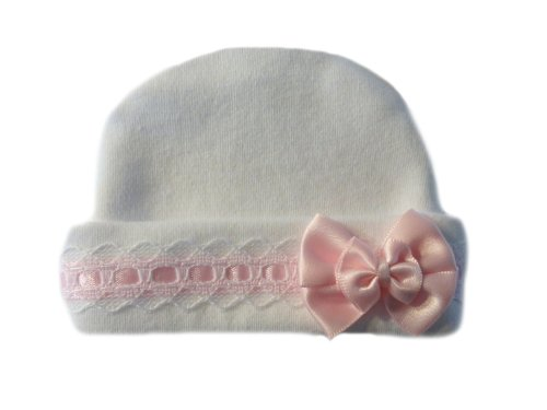Jacqui#039s Baby Girls#039 Lovely White Hat with Pink Lace Trim