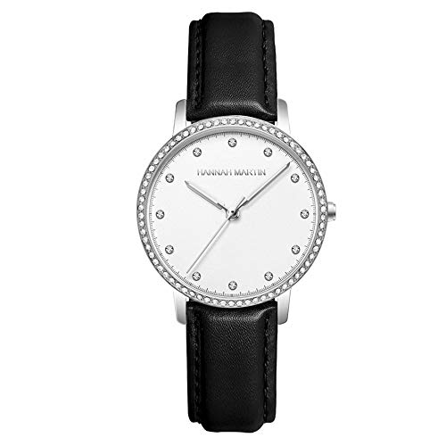Mesdames Montres, Femmes Montre Clair Simple Diamond Watch Ceinture en Acier Mode Femmes Montres Quartz Montre-Bracelet Étanche À l'eau,Silver Shell Black Belt