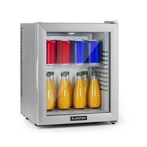 Klarstein Brooklyn - Minibar Mini-Kühlschrank, thermoelektrisches Kühlsystem, 3-stufige Kühlung: bis 12 °C, EcoExcellence System: Energieeffizienzklasse A, geräuschlos: 0 dB, 24 Liter, silber