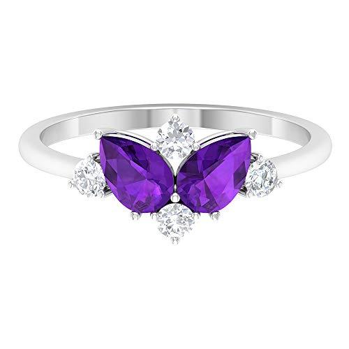 Anillo de compromiso de amatista y diamante de 1,25 quilates (calidad AAA), oro de 14 quilates morado
