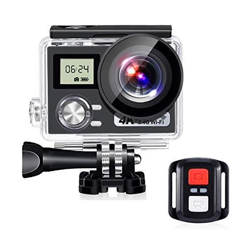 WQYRLJ HD-actiecamera, 4K draadloze afstandsbediening sportcamera DVR waterdichte professionele camera voor helm, video, extreme sport, onderwatercamera's