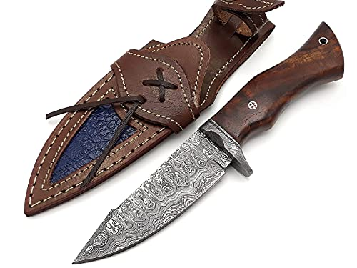 BCK Hunting Knives Unique Style Custom Handmade Damascus Hunting knife Tactical Knife Survival Knife 10.5'' inch Fixed Blade Knife Walnut Rose Wood Handle with Leather Sheath