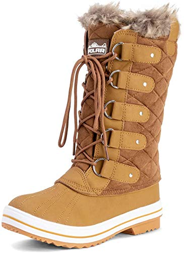 Polar Womens Snow Boot Quilted Tall Winter Snow Waterproof Warm Rain Boot - 7 - TAS40 YC0006