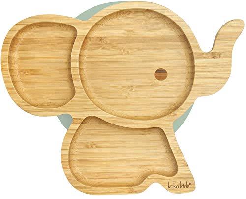 Elefanten Saugnapfplatte, aus natürlichem Bambus ~ Baby- und Kleinkind-Fütterungsplatte mit starkem Saugring (Minzgrün)