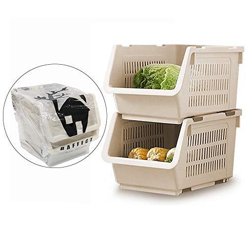 Canasta de Stacking de 2 niveles, canastas de almacenamiento Canasta de verduras de almacenamiento Estantería de almacenamiento de plástico con ruedas para baño Sala de estar Kitchen Storage (White)