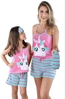 Kit Baby Doll Pijama Unicornio Mãe e Filha Adulto Infantil Curto Com Tapa Olho