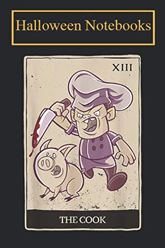 Halloween Notebook: Tarot card cook pig Notebook, Diary, Composition Book for Creepy and Scary Halloween Lovers