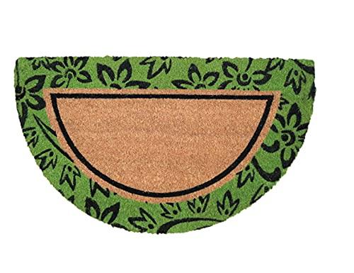 Tapis Entree Interieur et Exterieur, paillasson antiderapant et Absorbant, paillassons pour entrée en Fibre de Coco, Tapis Original de Porte, paillasson Demi Lune, 40x70 cm (Fleurs Vertes)