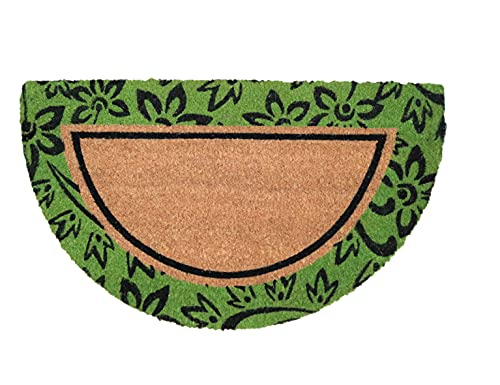 Felpudo de Coco Natural semicircular, felpudos Entrada casa, Alfombra Limpia Zapatos, Alfombra Entrada casa Interior y Exterior, Originales y Divertidos, 40x70 (Verde)