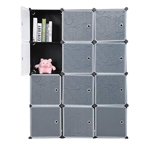Guardaroba Modulare, 12 Cubi Armadietto Fai da Te, Armadietto Modulare, Mobiletto in Plastica per Il Bagno, Camera da Letto, Ingresso, 111x37x147cm, Nero