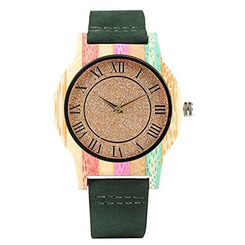 KUELXV Reloj de Pulsera de Madera Reloj de Madera Colorido de Moda Superior, Reloj de EsferaBrillanteCreativo,Reloj para Hombre, Relojes de Pulsera analógicos de Cuero de Cuarzo para Mujer, ve