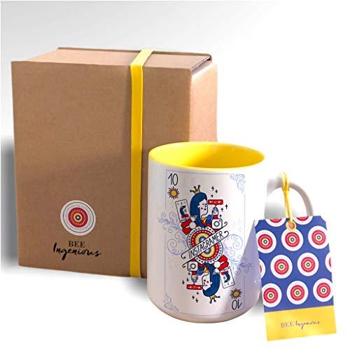 Bee Ingenious Taza Youtube. Taza XL. Tazas de Desayuno Grandes preparada para Regalo para Youtuber Mujer 10. Tazas de café Originales. Colección Profesionales de 10
