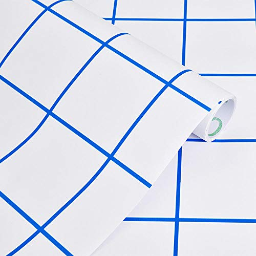 XIAORUI Pegatina de Papel Tapiz 3D, modificación de la Hoja de remodelación de Peelable DIY, a Prueba de Agua, Resistente al Calor y Hoja de Corte a Prueba de moldes-60 cm * 5m_Línea Azul Azul