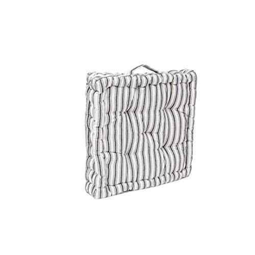 LEYENDAS Cojin para Silla de 40 x 40 x 8 cm para Interior y Exterior de 100% algodón cojín Acolchado/cojín para el Suelo (Rayas/Blanco Y Negro, 1)