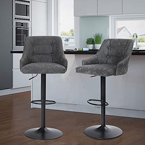 Maison Adjustable Swivel Bar Stools with Back Set of 2 for Kitchen Counter Padded Counter Height Faux Leather Bar Chairs with Heavy Duty Base for Pub Cafe Dining, 300LBS Capacity, Grey, Ring Back