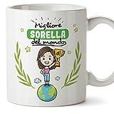 Mugffins Sorella Tazza/Mug - Migliore Sorella del Mondo - Idea Regalo Originale di Compleanno - Tazza Migliore Sorella in Ceramica. 350 ml