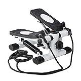 Relaxdays Stepper, mit Schrittzähler & 2 Expandern, Fitnessgerät für zuhause, Up & Down, Swingstepper, schwarz-weiß
