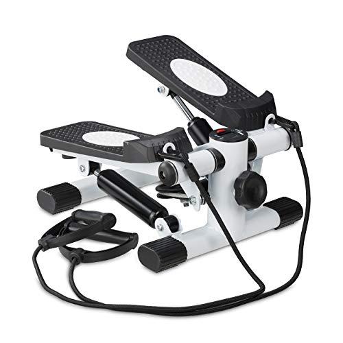Relaxdays Stepper, Mini Step con 2 Corde Elastiche & Contapassi, Attrezzi Fitness per Casa, Gambe & Braccia, Nero/Bianco Unisex Adulto, 1 pz