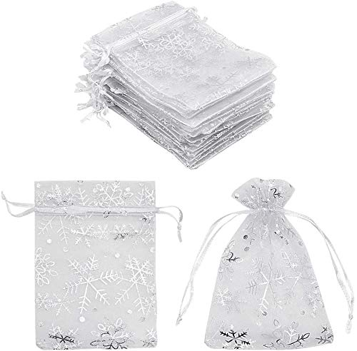 AOOA Organza Gift Bags White Snowflake, Small White Mesh Jewelry Pouches Little Drawstring Candy Bags for Christmas