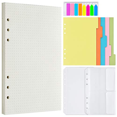 Gepunktetes Nachfüllpapier, 200-Punkte-Rasterseiten, 5 farbige Binder-Teiler, 160 PCS-Registerkarten mit Lineal, 2 PCS-Binder-Taschen für den nachfüllbaren A6 Journal Notebook Planner Organizer