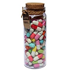 Cute and novelty pill capsule design - 90 Pcs Capsule Letters and one glass bottle There is a blank piece of paper inside the pill, you can write whatever you would like on it A great way to show your feeling to others if you do not have courage to s...