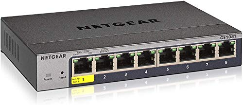 Netgear GS108T - Switch de red Gigabit Ethernet Smart Pro con 8 puertos con gestión en la nube