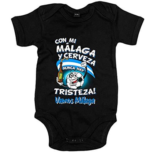 Body bebé frase con mi Málaga y cerveza nunca hay tristeza fútbol - Negro, 6-12 meses