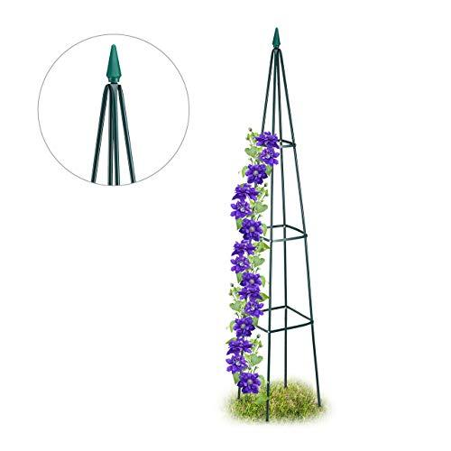 Relaxdays, Mörkgrön växtstöd, fristående spaljé för vin och tomater, XL trädgårdspyramid, H 192 cm, järn