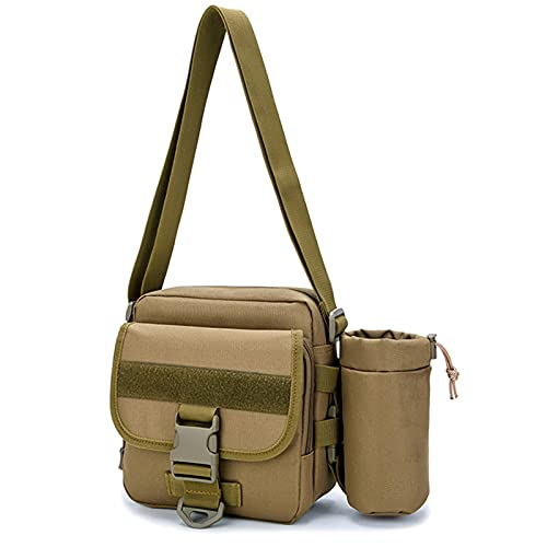 Bolso Bandolera Pecho Riñonera Cruzada Mochila Sling Bags Shoulder con Puerto de USB Retirable 20L Paño de Oxford para Exterior,Brown