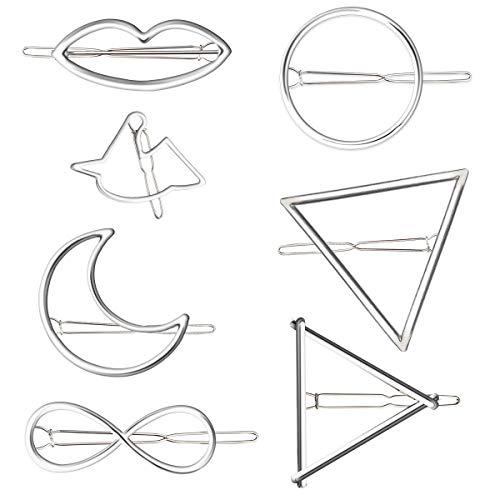7 Metall-Haarspange, elegante Silber Haarspangen, Geometrische Formen, , Kreis, Dreieck und Mond