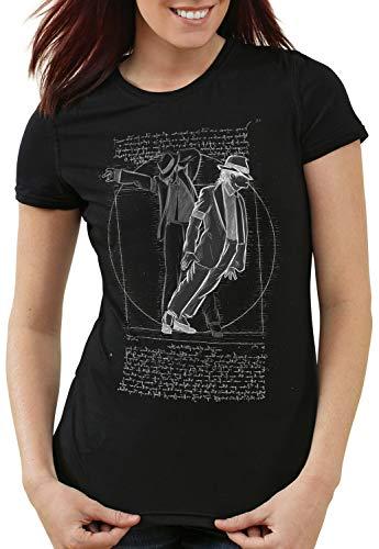 CottonCloud Vitruvianischer Pop King Damen T-Shirt da Vinci Michael Moonwalk, Farbe:Schwarz, Größe:S