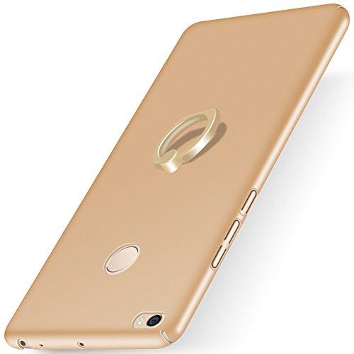 """XMT Xiaomi Mi MAX 2 6.44"""" Funda,PC Hard Gel Funda con Ring Stand Protective Case Cover para Xiaomi Mi MAX 2 Smartphone (Oro)"""