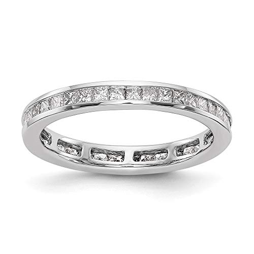 14k White Gold Princess Channel Set Diamond Eternity Wedding Band Ring (1 cttw), Size 4.5