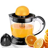 Aigostar Thomas - Electric citrus juicer 0% BPA. 40W, 2 interchangeable cones, adjustable pulp quantity, bidirectional rotation, 1L. Black.