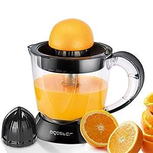 Aigostar Thomas 30RGX - Exprimidor Eléctrico, 40W, 1000 ml, Cantidad de Pulpa Ajustable,Apto para Lavavajillas, 2 Conos Desmontables, Exprimidor Naranjas Negro