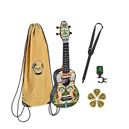 Ortega Guitars Sopran Ukulele - Keiki K2 designt mit Totemfiguren - Starterkit inklusive Tuner, 5 Medium Plektren & Kordelzugtasche mit Keiki-Logo - Kauriholz (K2-TM)