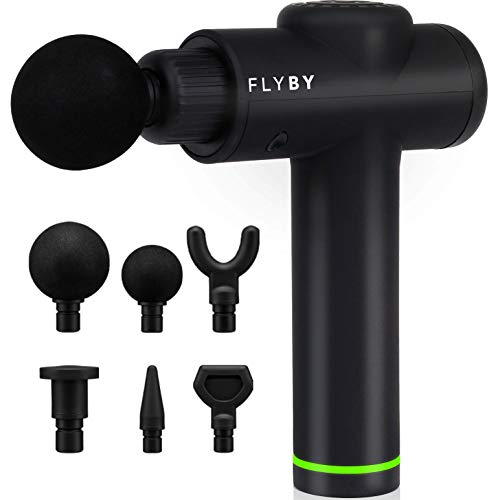 Deep Tissue Massage Gun - USA Designed - Flyby F1Pro - Powerful Handheld Quiet Percussion Massager - Back Muscle Soreness and Recovery for Athletes - 1.8 lbs, 3 Speeds & 6 Attachments for 4+ Hours