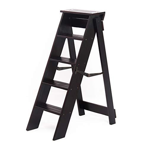 ZRXJQ-Klappstufen Holzklappleiter Hocker, 5-stufig, Trittleiter/Treppenstühle Multifunktionsleiter für Küche/Büro/Bibliothek - Braun