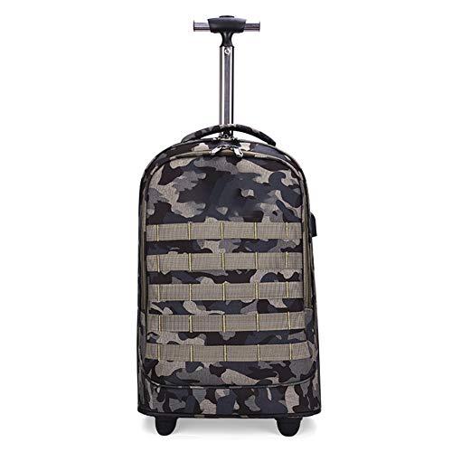 Preisvergleich Produktbild CDZNIU Outdoor trolley rucksack,  2-in-1 Nylon wasserdichter Camouflage Reiserucksack mit Rädern und USB-Anschluss,  für 15, 6 Zoll Laptop Student College Schultasche mit Rädern Daypack-green