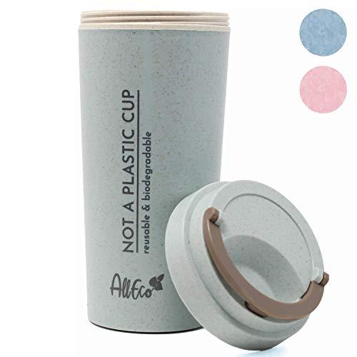 AllEco® Kaffeebecher-to-Go - biologisch abbaubar, Thermobecher plastikfrei aus Weizenstroh 500ml blau Travel Mug Coffee-to-go, doppelwandig isoliert | nachhaltig, wiederverwendbar, umweltfreundlich