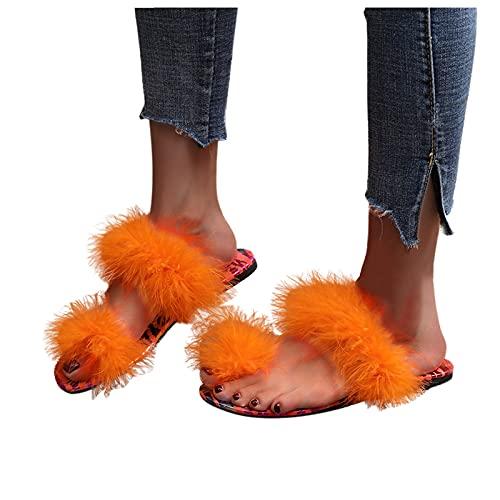 Hausschuhe Sommer Flache Sandalen Damen Rutschfest Pantoffeln Plüsch Zehentrenner Flip Flops Offener Zeh Schuhe Frauen Atmungsaktiv Freizeitschuhe Weicher Boden Strandschuhe