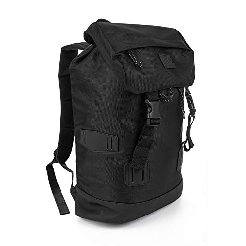 XRAY Duffle Backpack Large Canvas Retro Rucksack Travel Hiking Mountain Overnight Weekend Bag for Men and Women (Black/Black)