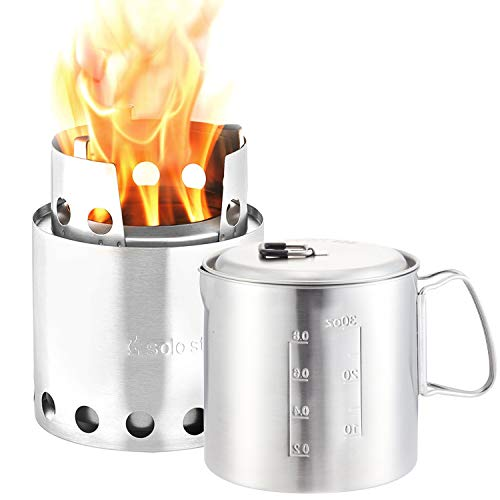 Solo Stove & Pot 900 Combo: Ultralight Wood Burning Backpacking Cook System. Lightweight Kitchen Kit for Backpacking, Camping, Survival. Burns Twigs, No Batteries or Liquid Fuel Gas Canister Required