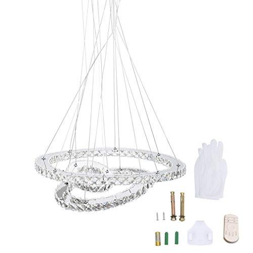 LED Kristall Design Hängelampe Deckenlampe Deckenleuchte Pendelleuchte Kreative Kronleuchter, Moderne Kristall Kronleuchter,Kaltes Lüster 6000-6500 K (98W-Dimmbar-Drei Ringe(Φ: 30cm+50cm+70cm))