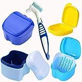 Estuche de Dentadura,Fadaar 5pcs Cepillo de Dentadura Caja de Baño Limpieza de Dentadura Caja Para Dentadura Postiza con Cesta de Enjuague Dientes Falsos Recipiente de Almacenamiento y Limpieza (Azul)